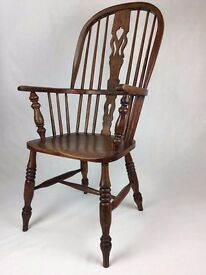 Antique Ash High Back Windsor Chair - Victorian
