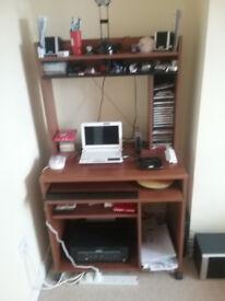 Computer desk/Work station, teak, keyboard drawer, printer shelf, CD/DVD storage