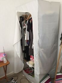 Metal framed wardrobe with nylon cover