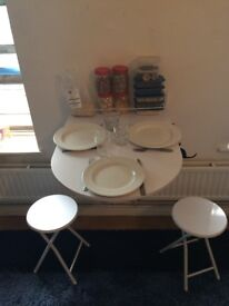 Drop Leaf wall-mounted table, folding kitchen with 2 stools
