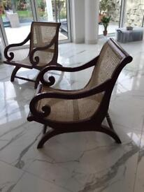 Two Colonial arm chairs
