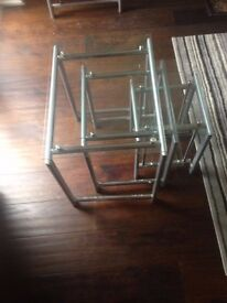 Large Glass coffee table and Nest of 3 glass tables