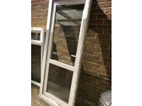 Door & Frame - White with glass & locks - used