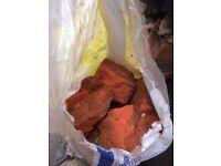 clean half bricks in builders bags