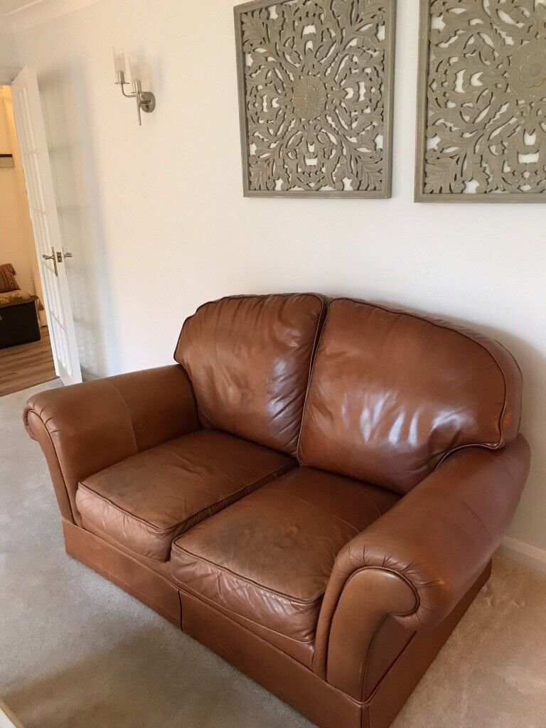 2 Seater Marks And Spencer S Leather Sofa Scroll Arms