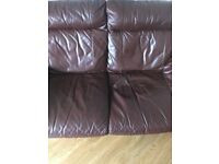 Free 3&2 Seater brown leather sofa