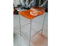 Orange translucent high stool