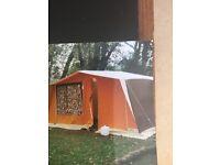 Vintage Raclet Tivoli Frame Tent in Orange/Brown plus vintage flush porta pot with tent