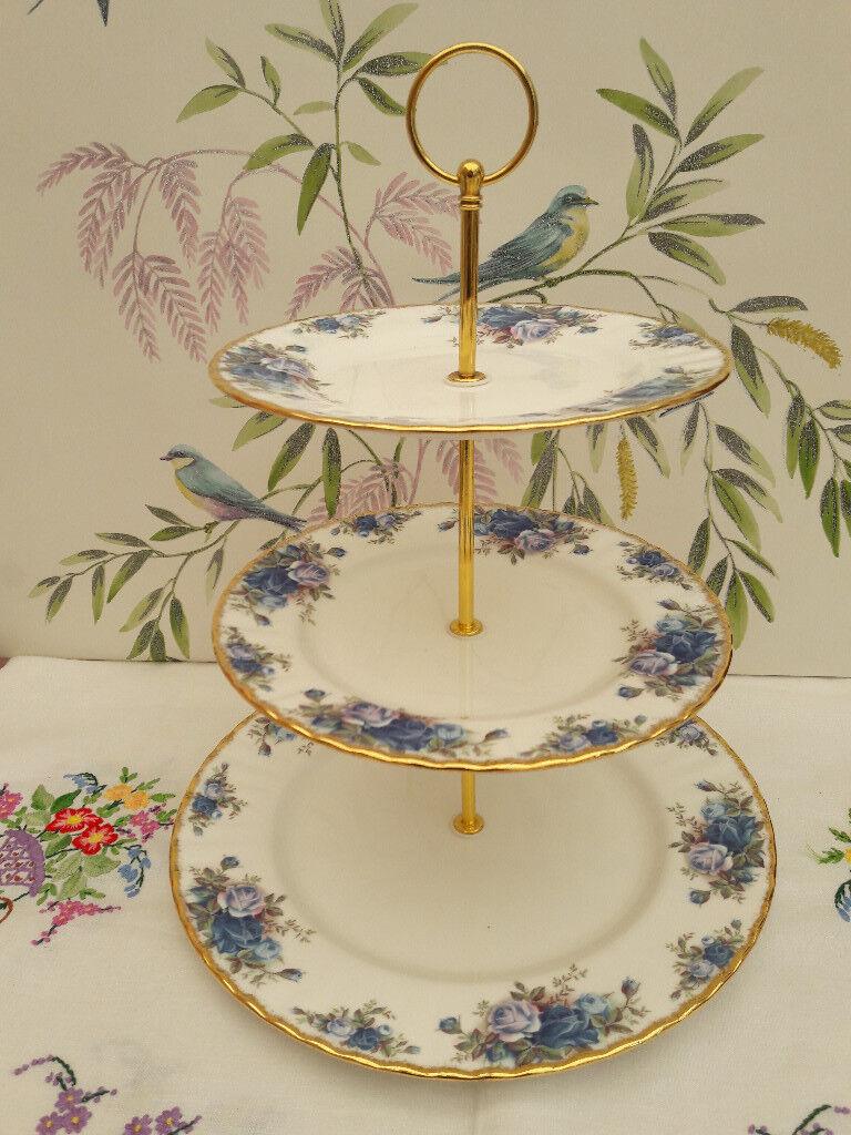 "Royal Albert ""Moonlight Rose"" XL 3-tier cake stand"