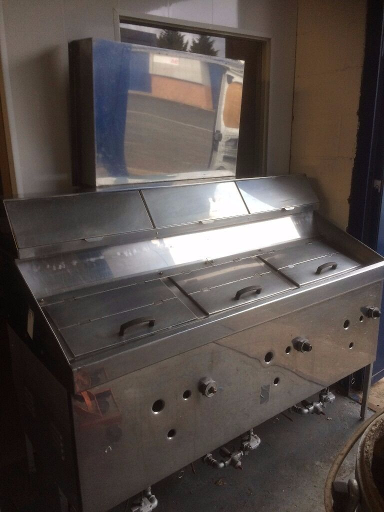 LPG Fish and Chip Range 3 Pan Good Clean Working Order,Any Inspection Welcome 163 W x 86 D x 130 H