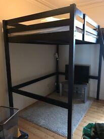 Black wooden loft bed frame