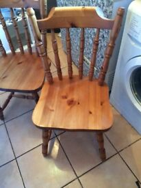 2 x solid pine kitchen / dining chairs