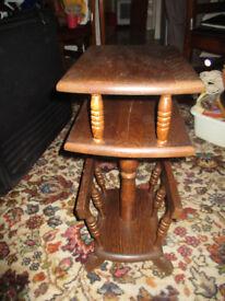 Dark wood coffee table / paper rack