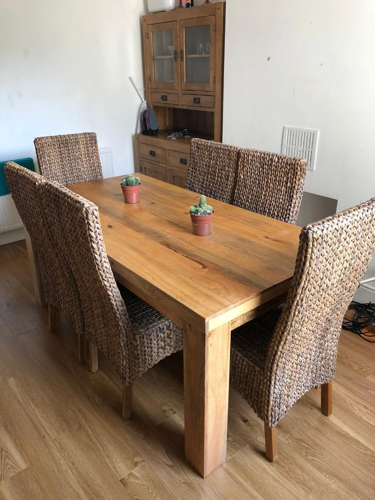 Solid Mango Wood Dining Table 6 Chairs