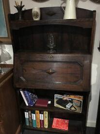 Wonderful Antique Carved Solid Oak Slim-line Lockable Arts & Crafts Style Writing Bureau Bookshelf