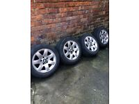 """Bmw alloys and tyres16""""+extra tyre"""