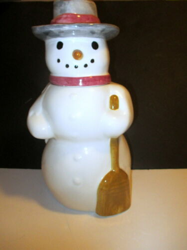 VINTAGE LAURIE GATES LOS ANGELES POTTERY CHRISTMAS HOLIDAY SNOWMAN COOKIE JAR