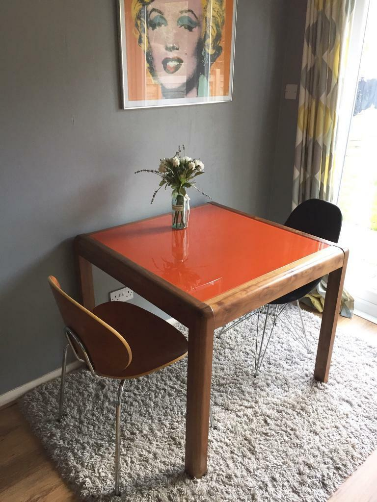 Heals walnut table with orange glass top & 2 chairs