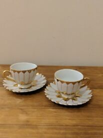 Two miniature Gold and White Teacup and Plates (Open to Offers)