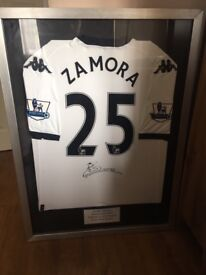 Signed and Framed Bobby Zamora Shirt