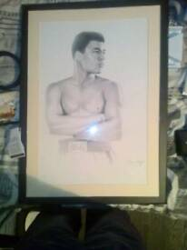 Muhammad ali bedroom living room portrait/drawing