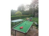 "6""x 4"" Snooker / Pool table with fold away legs"