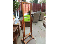 upright pine mirror on stand good codition
