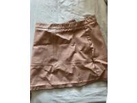 Salmon pink size 10 mini leather skirt