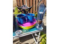 Camping pans, kettle, cups, cutlery