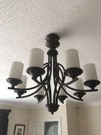 8 Arm chandelier and wall lights to match