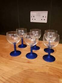 Royal Blue Glitter Wine Glasses