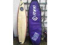 "6'6"" surf board plus bag plus vest with hood"