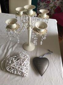 Decorative bits candelabra and 2 hearts