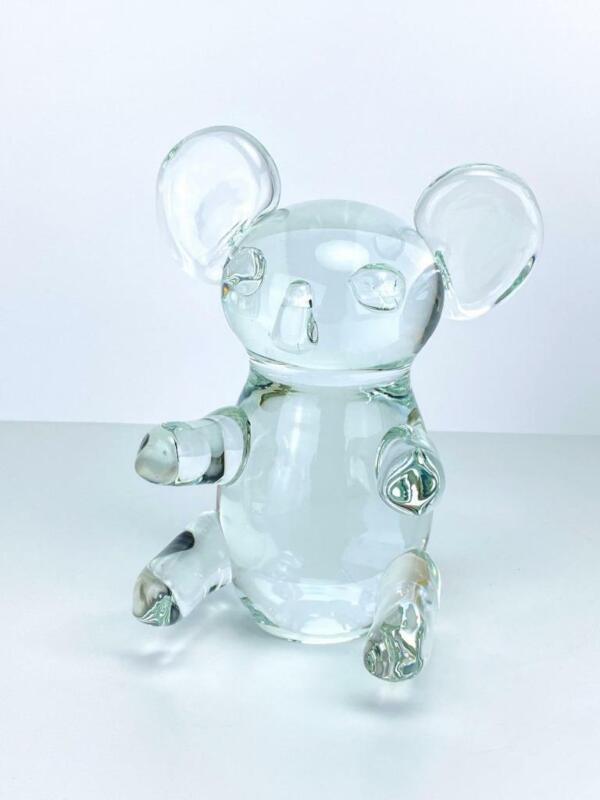 Vintage Blown Art Clear Glass Koala Bear Sculpture Figure Sweden