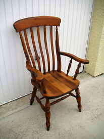 Farmhouse Style Solid Beech Slat Back Armchair Wooden Carver