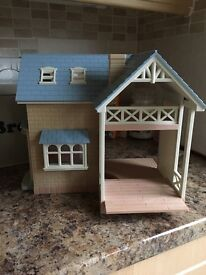 SYLVANIAN FAMILY COTTAGE WITH FURNITURE & BUS