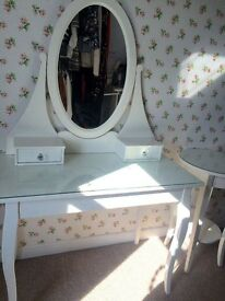 IKEA white dressing table and matching bedside table