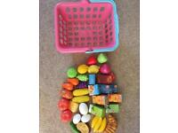 Shopping basket and play food