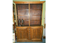 Late Victorian arts and crafts style hand carved dresser with bookcase