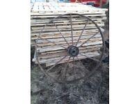 pair of antique cast iron large wheels