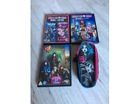 Monster high DVD's, pencil case and Descendants Dvd
