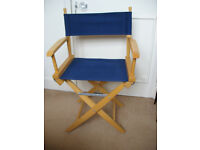 Hollywood style folding Director chair - blue material/light brown wood, Camping