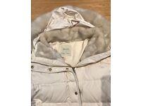 Cream fur hood puffer jacket from Zara