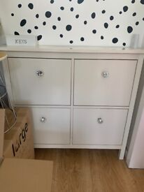 IKEA white shoe rack with added cut glass handles