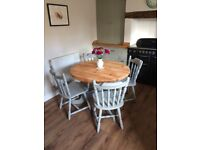 Solid pine round table and four chairs - fully refurbished