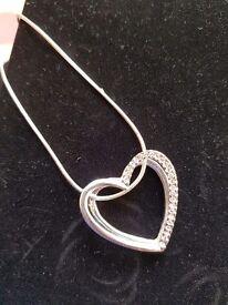 Diamanté heart necklace with silver chain