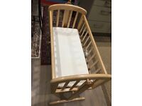Baby Crib swinging from John Lewis Anna Swinging Crib, Natural