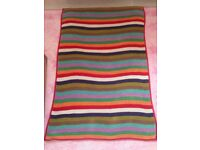 Next multi coloured stripe knitted blanket