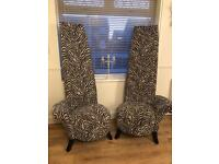Stunning bespoke potenza large back zebra print chair