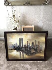 Twin towers and New York in pastel beautiful haunting picture